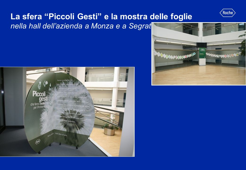 La sfera Piccoli Gesti e la mostra delle foglie nella hall dell'azienda a Monza e a Segrate