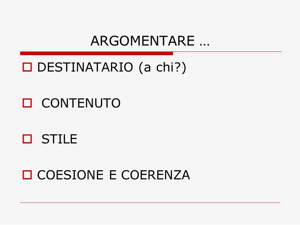ARGOMENTARE … DESTINATARIO (a chi ) CONTENUTO STILE