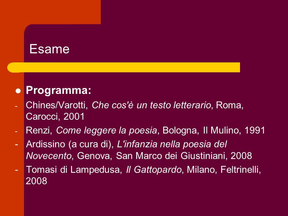 Esame Programma: Chines/Varotti, Che cos è un testo letterario, Roma, Carocci, 2001. Renzi, Come leggere la poesia, Bologna, Il Mulino, 1991.