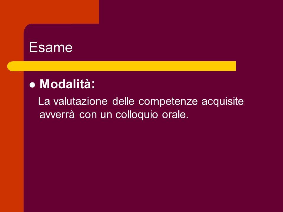 Esame Modalità: La valutazione delle competenze acquisite avverrà con un colloquio orale.