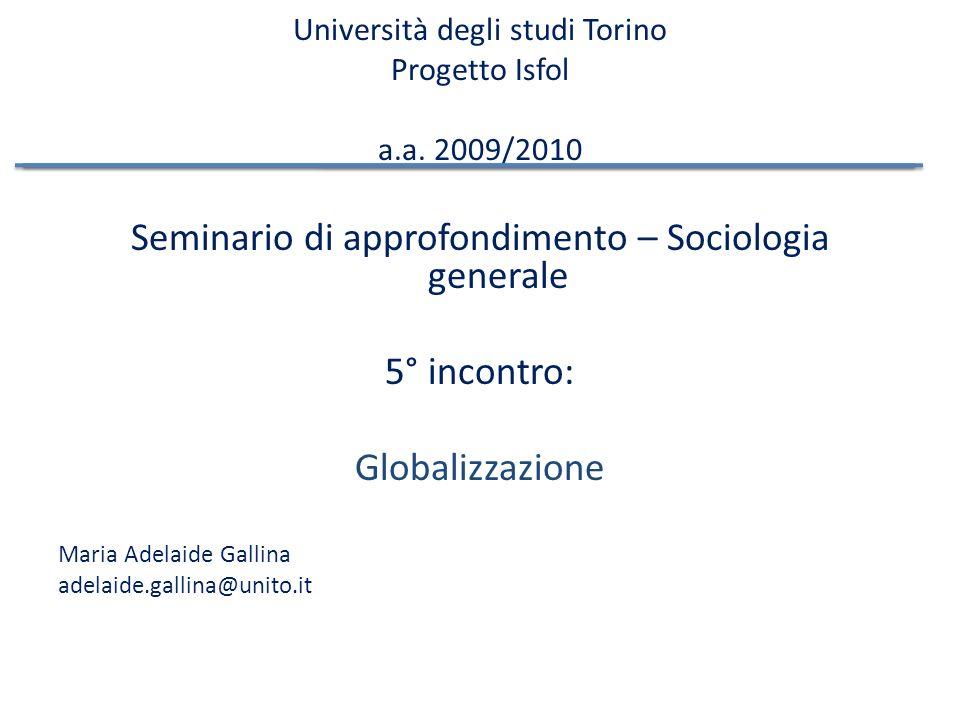 Università degli studi Torino Progetto Isfol a.a. 2009/2010
