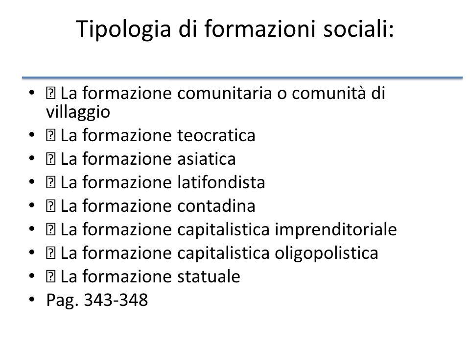 Tipologia di formazioni sociali: