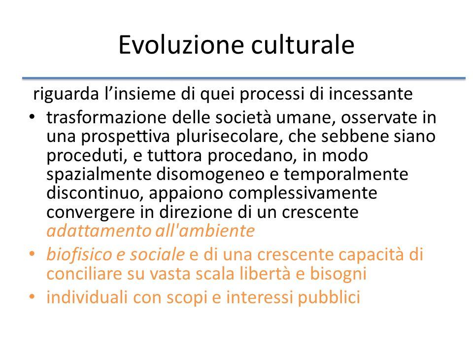 Evoluzione culturale riguarda l'insieme di quei processi di incessante