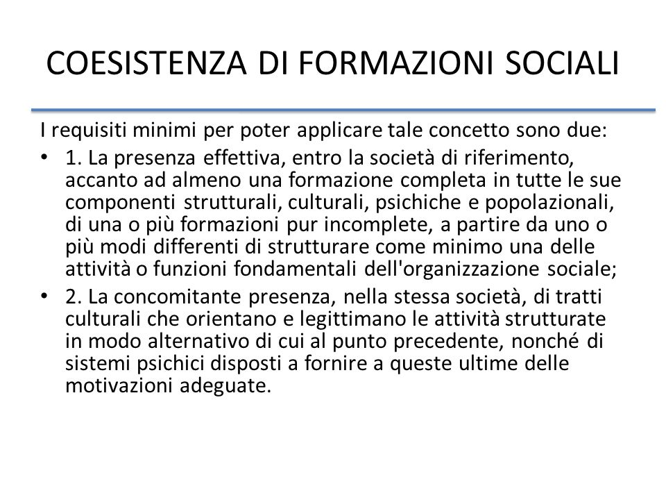 COESISTENZA DI FORMAZIONI SOCIALI