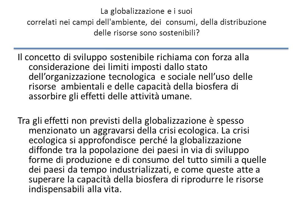 La globalizzazione e i suoi correlati nei campi dell ambiente, dei consumi, della distribuzione delle risorse sono sostenibili