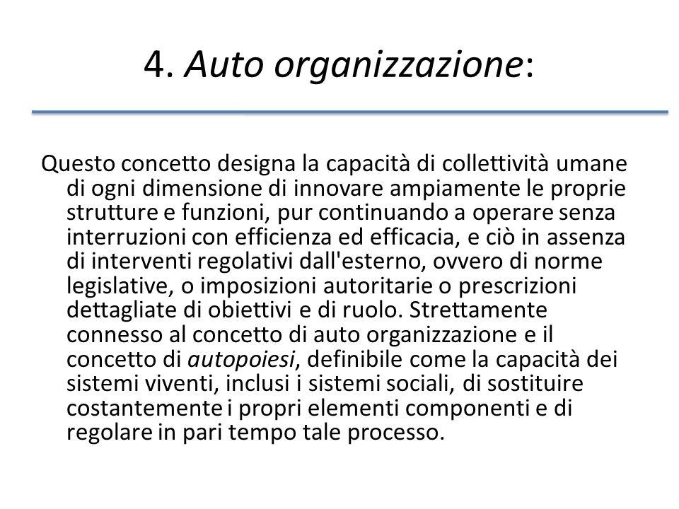 4. Auto organizzazione: