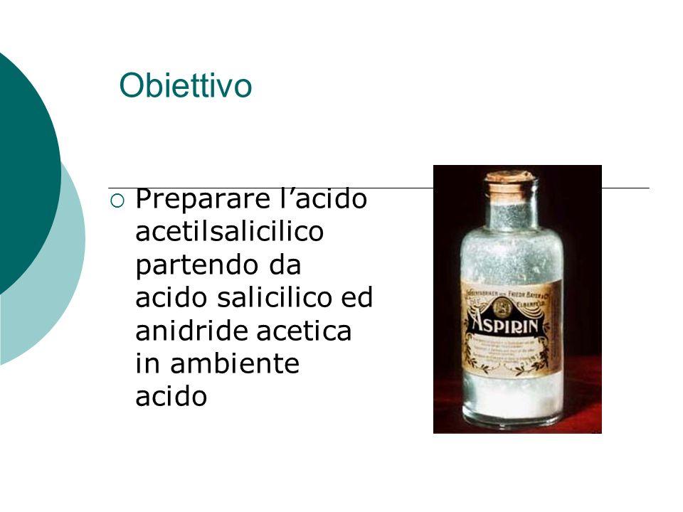 Obiettivo Preparare l'acido acetilsalicilico partendo da acido salicilico ed anidride acetica in ambiente acido.