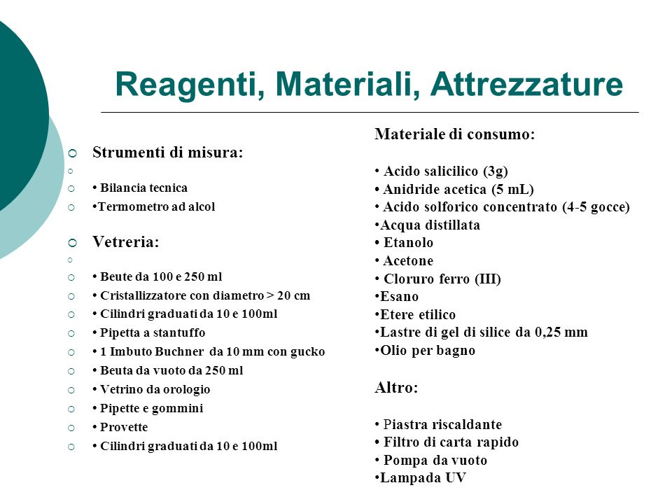 Reagenti, Materiali, Attrezzature