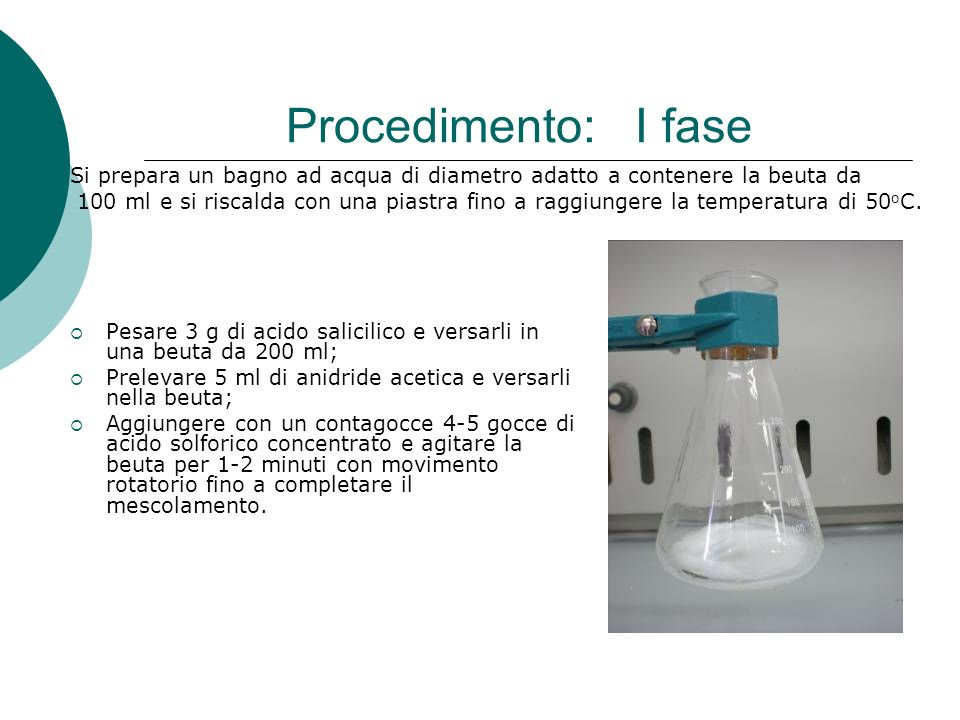 Procedimento: I fase Si prepara un bagno ad acqua di diametro adatto a contenere la beuta da.