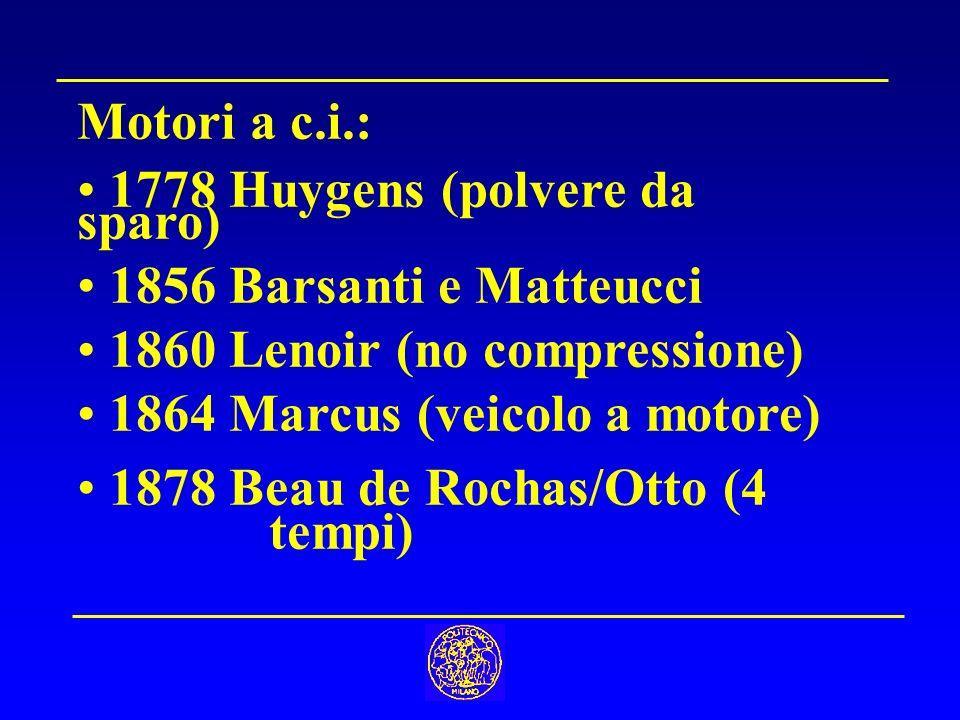 Motori a c.i.: 1778 Huygens (polvere da sparo) 1856 Barsanti e Matteucci. 1860 Lenoir (no compressione)