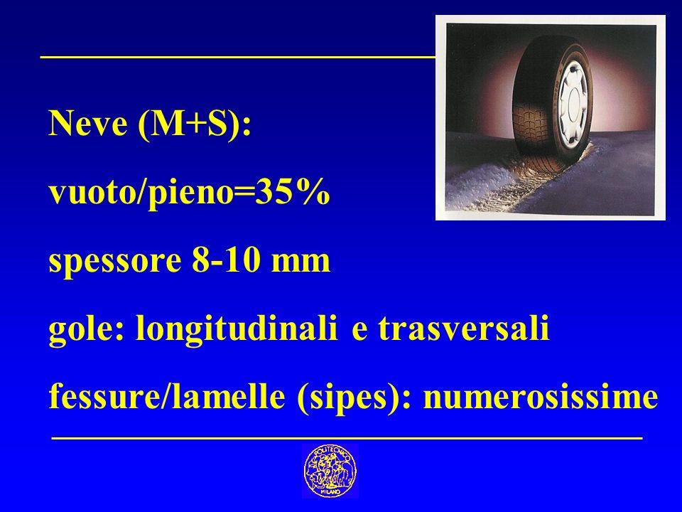 Neve (M+S): vuoto/pieno=35% spessore 8-10 mm. gole: longitudinali e trasversali.