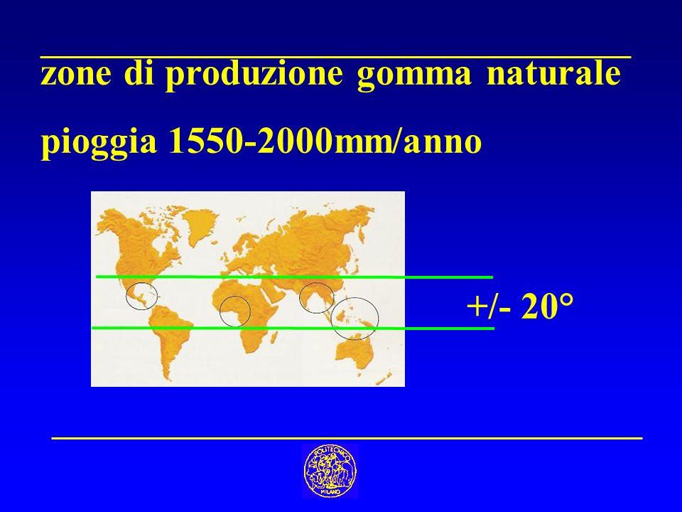 zone di produzione gomma naturale