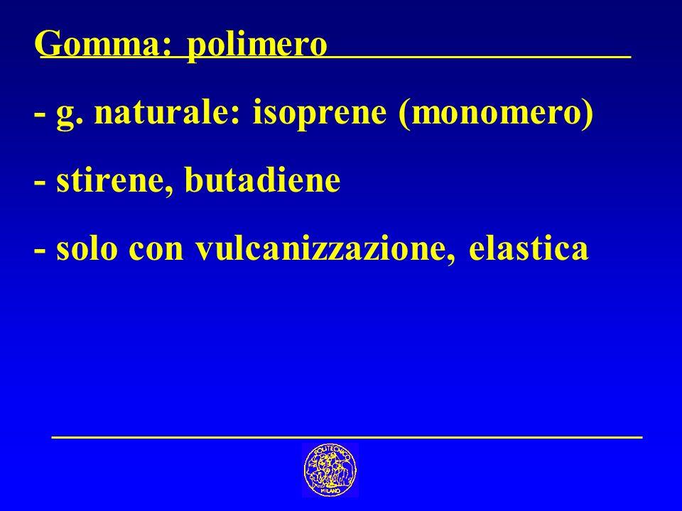 Gomma: polimero - g. naturale: isoprene (monomero) - stirene, butadiene.