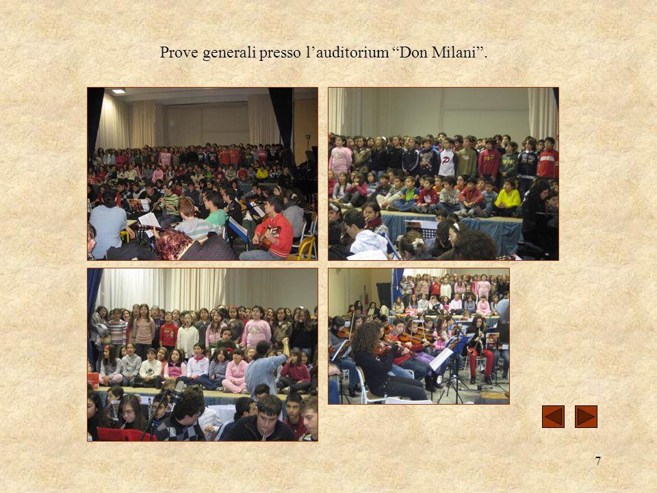 Prove generali presso l'auditorium Don Milani .