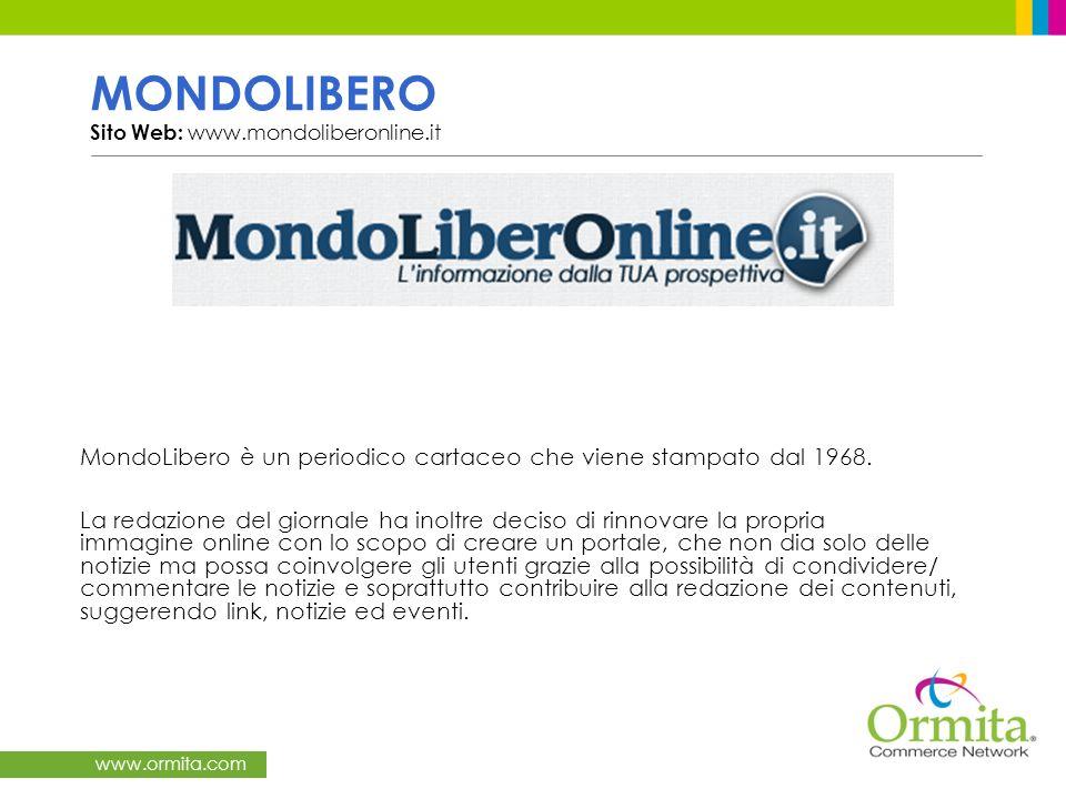 MONDOLIBERO Sito Web: www.mondoliberonline.it MondoLibero è un periodico cartaceo che viene stampato dal 1968.