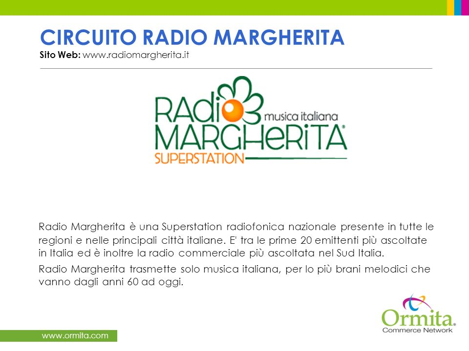 CIRCUITO RADIO MARGHERITA Sito Web: www.radiomargherita.it