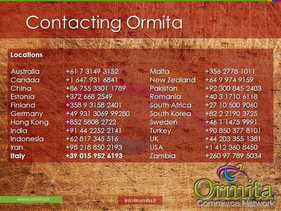 Contacting Ormita Locations