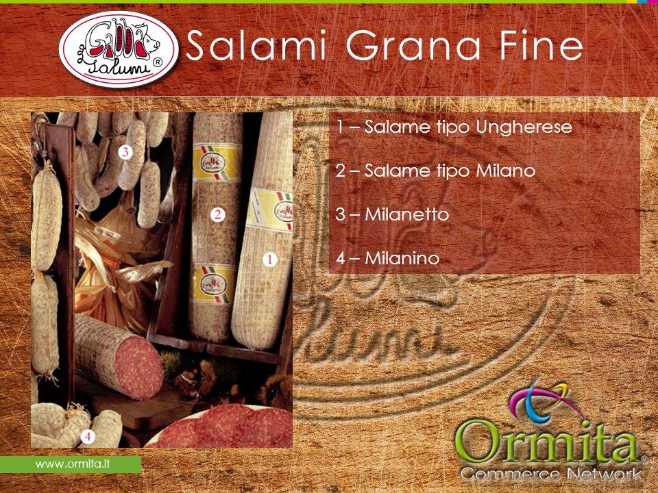 Salami Grana Fine 1 – Salame tipo Ungherese 2 – Salame tipo Milano 3 – Milanetto 4 – Milanino
