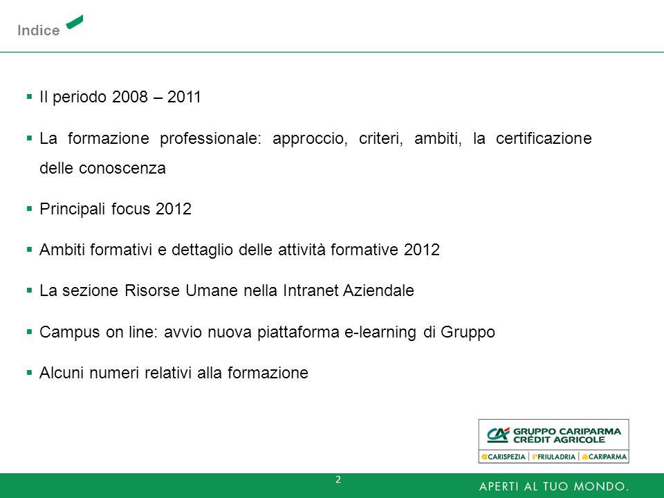Ambiti formativi e dettaglio delle attività formative 2012