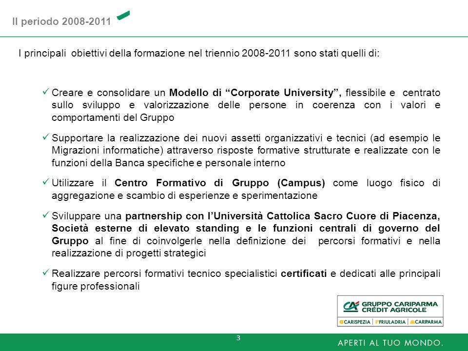 Il periodo 2008-2011I principali obiettivi della formazione nel triennio 2008-2011 sono stati quelli di: