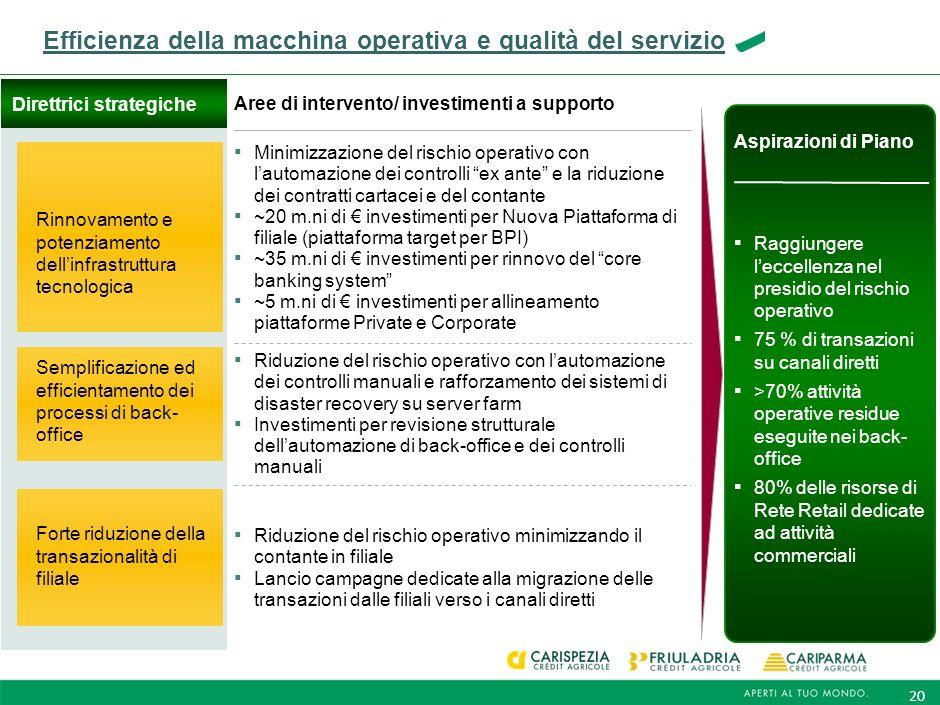 Efficienza della macchina operativa e qualità del servizio