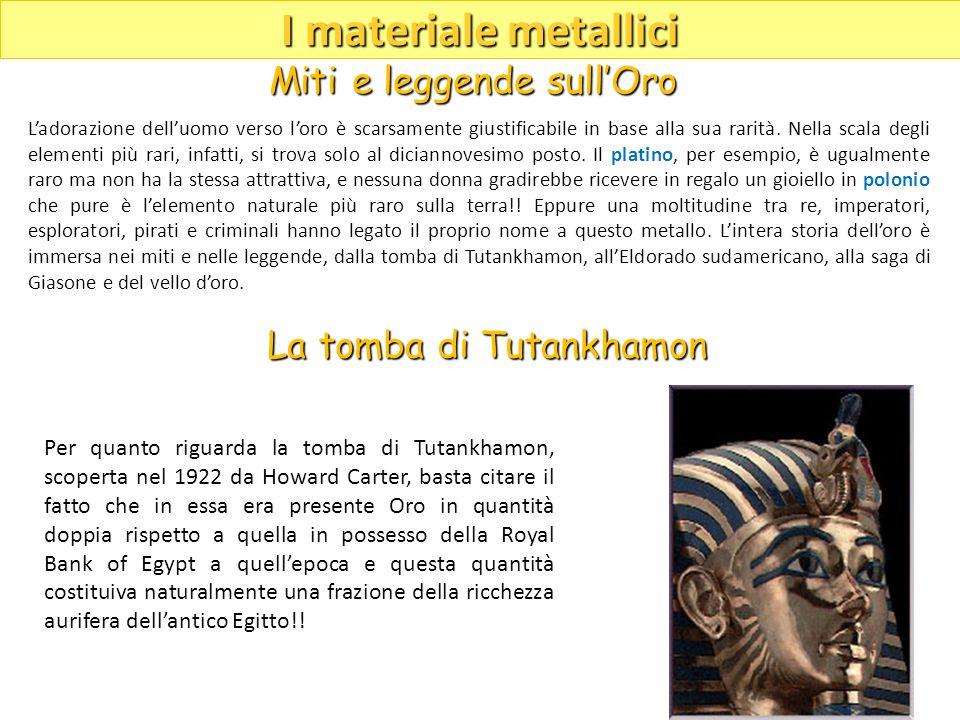 I materiale metallici Miti e leggende sull'Oro La tomba di Tutankhamon