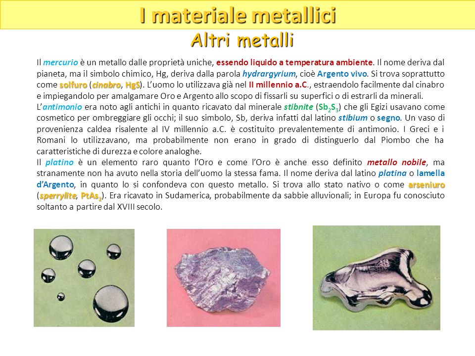I materiale metallici Altri metalli