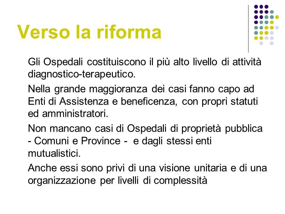 Verso la riforma Gli Ospedali costituiscono il più alto livello di attività diagnostico-terapeutico.