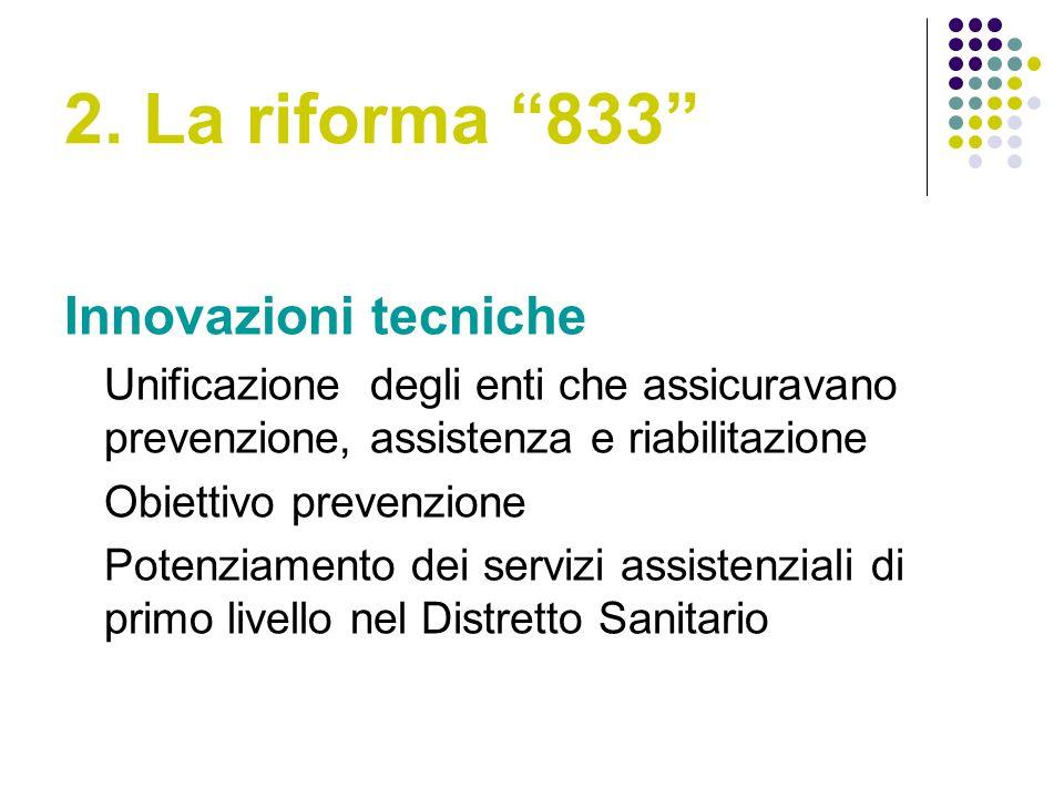 2. La riforma 833 Innovazioni tecniche