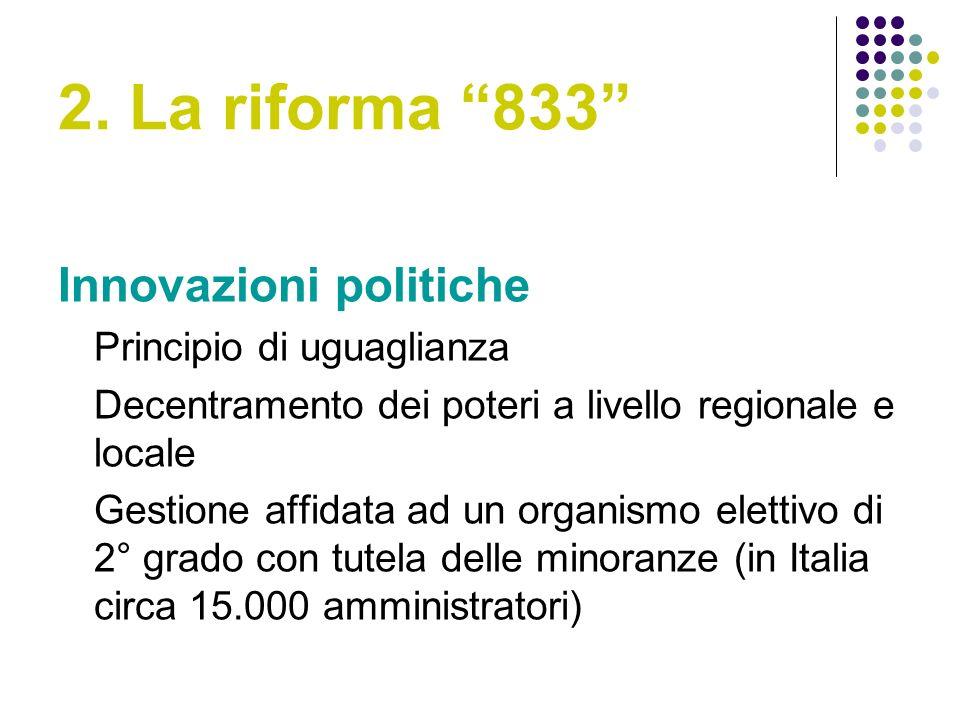 2. La riforma 833 Innovazioni politiche Principio di uguaglianza