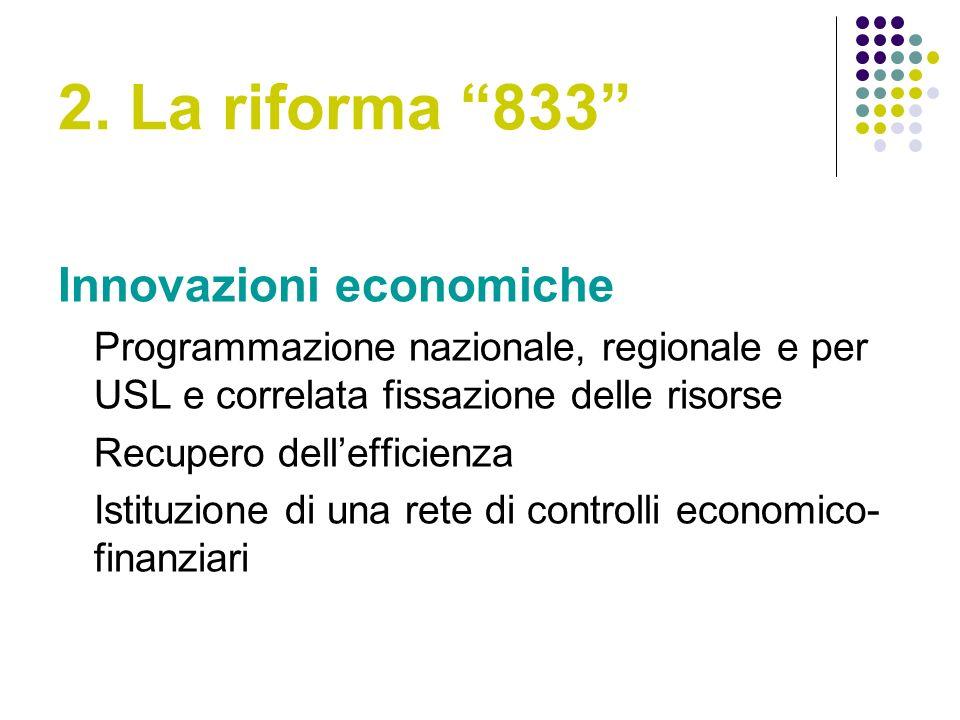 2. La riforma 833 Innovazioni economiche