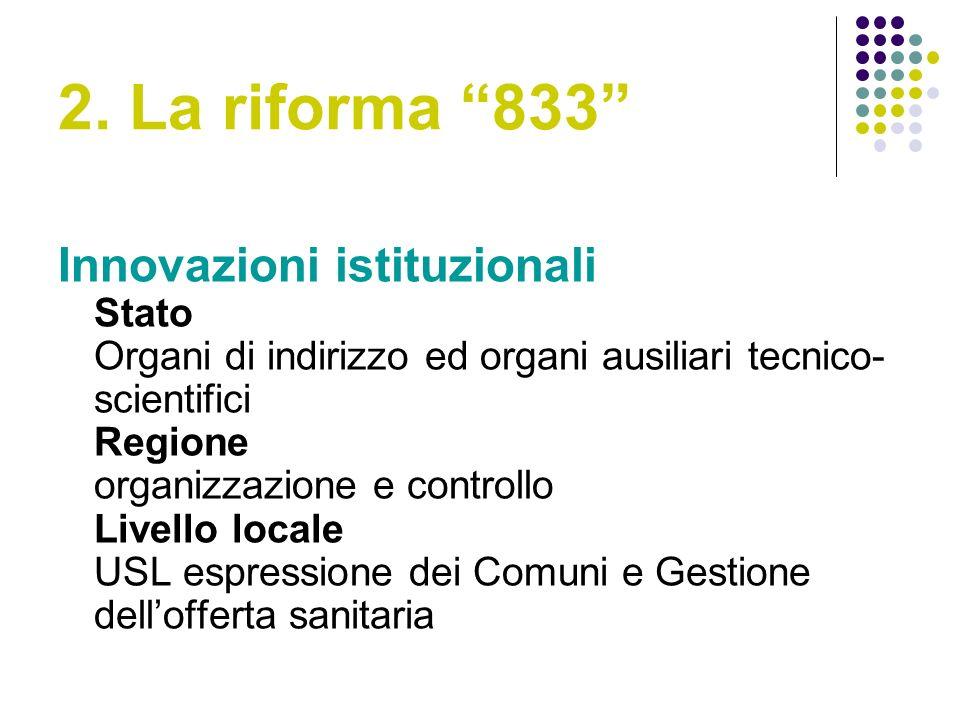 2. La riforma 833 Innovazioni istituzionali Stato