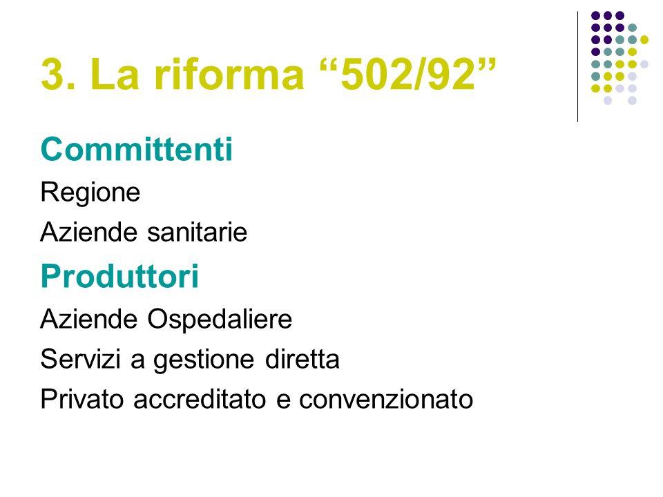 3. La riforma 502/92 Committenti Produttori Regione