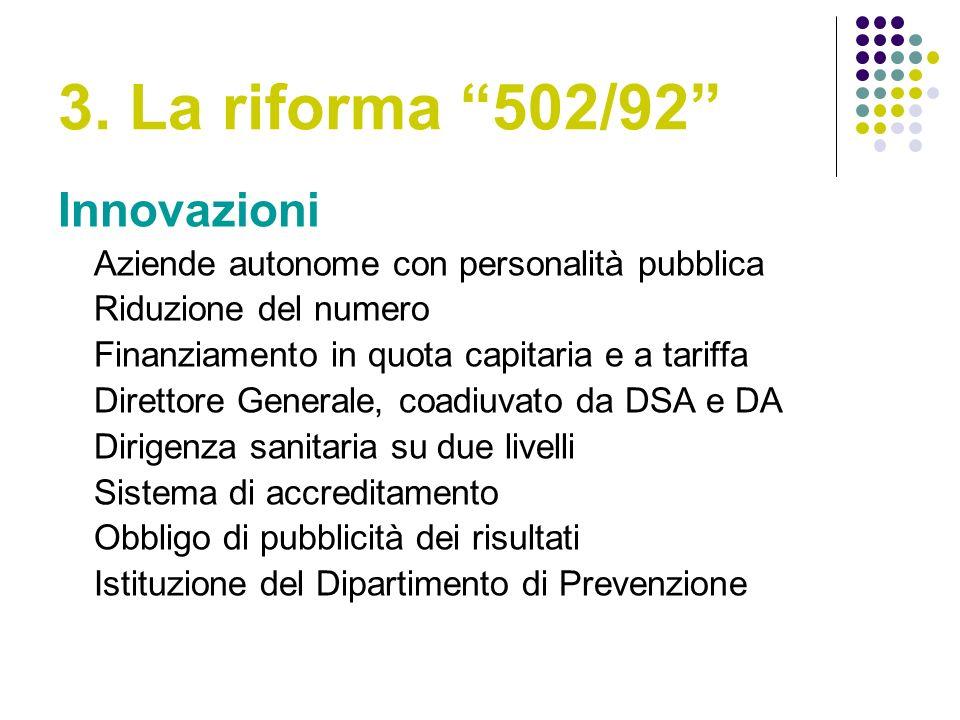 3. La riforma 502/92 Innovazioni