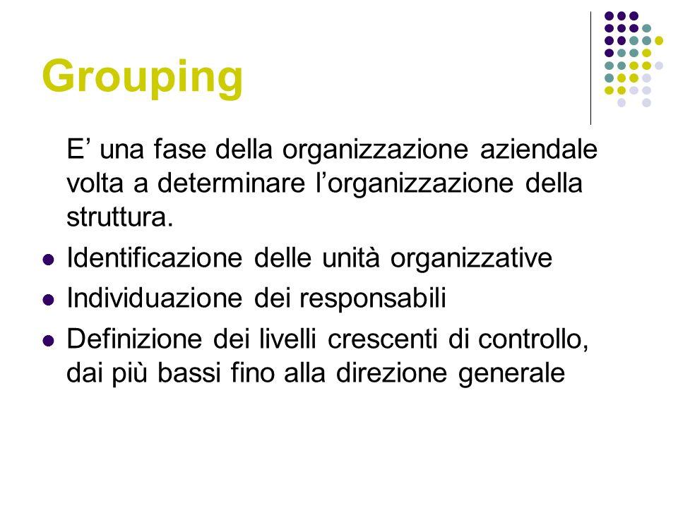 Grouping E' una fase della organizzazione aziendale volta a determinare l'organizzazione della struttura.