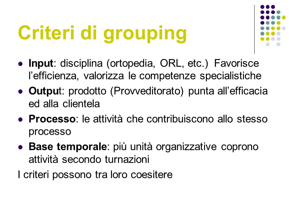 Criteri di grouping Input: disciplina (ortopedia, ORL, etc.) Favorisce l'efficienza, valorizza le competenze specialistiche.