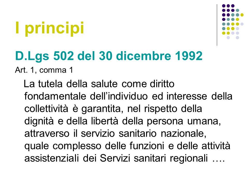I principi D.Lgs 502 del 30 dicembre 1992