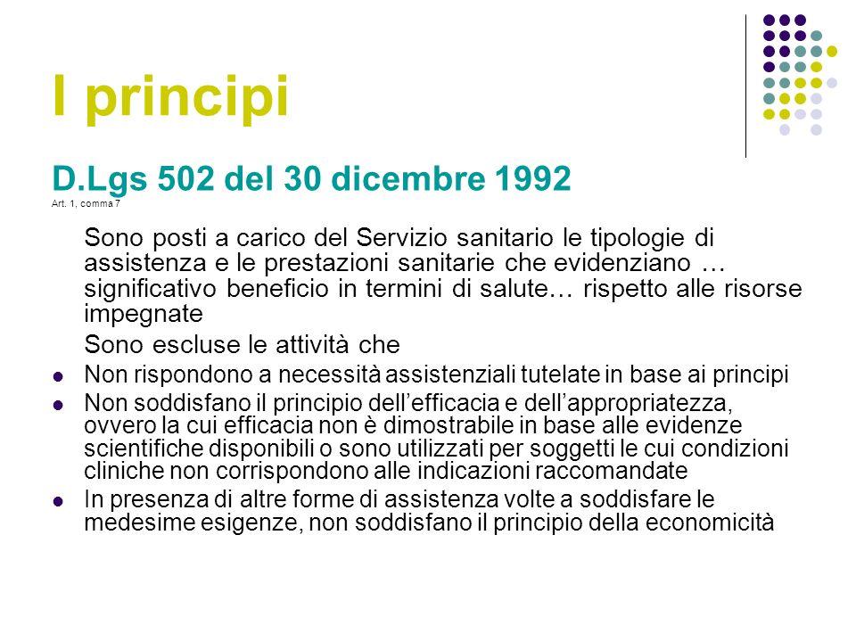 I principi D.Lgs 502 del 30 dicembre 1992 Sono escluse le attività che