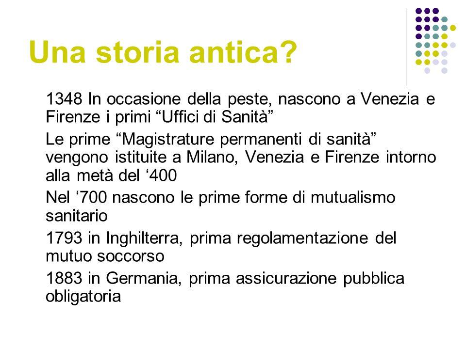 Una storia antica 1348 In occasione della peste, nascono a Venezia e Firenze i primi Uffici di Sanità