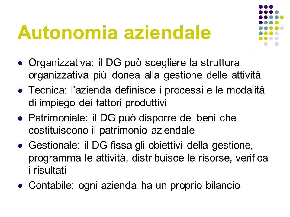 Autonomia aziendale Organizzativa: il DG può scegliere la struttura organizzativa più idonea alla gestione delle attività.