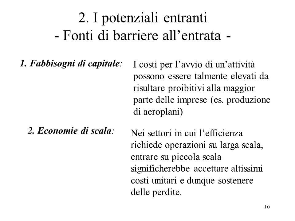 2. I potenziali entranti - Fonti di barriere all'entrata -
