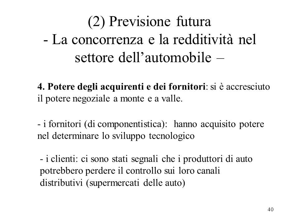 (2) Previsione futura - La concorrenza e la redditività nel settore dell'automobile –