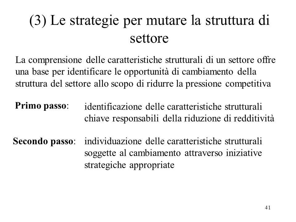 (3) Le strategie per mutare la struttura di settore