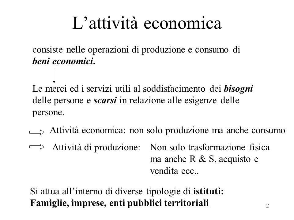 L'attività economica consiste nelle operazioni di produzione e consumo di. beni economici.