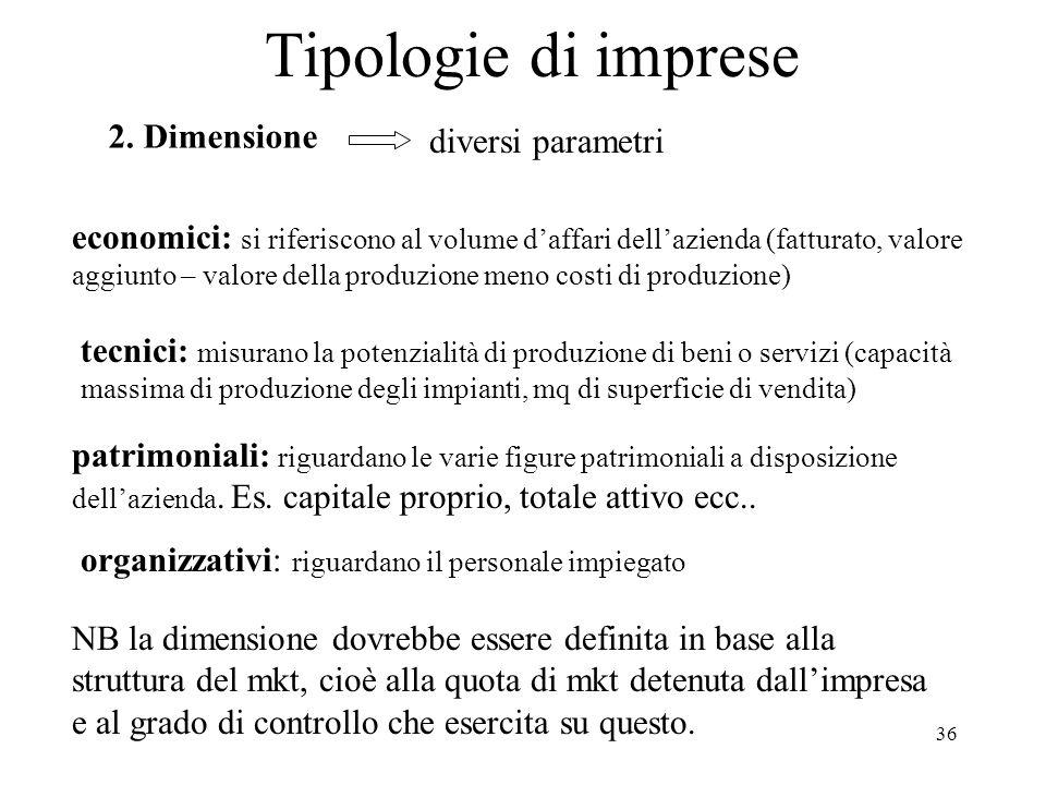 Tipologie di imprese 2. Dimensione diversi parametri