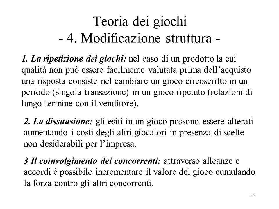 Teoria dei giochi - 4. Modificazione struttura -