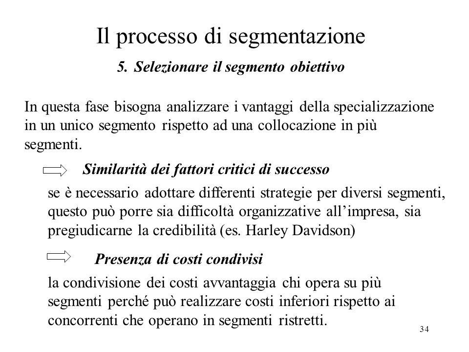 Il processo di segmentazione 5. Selezionare il segmento obiettivo