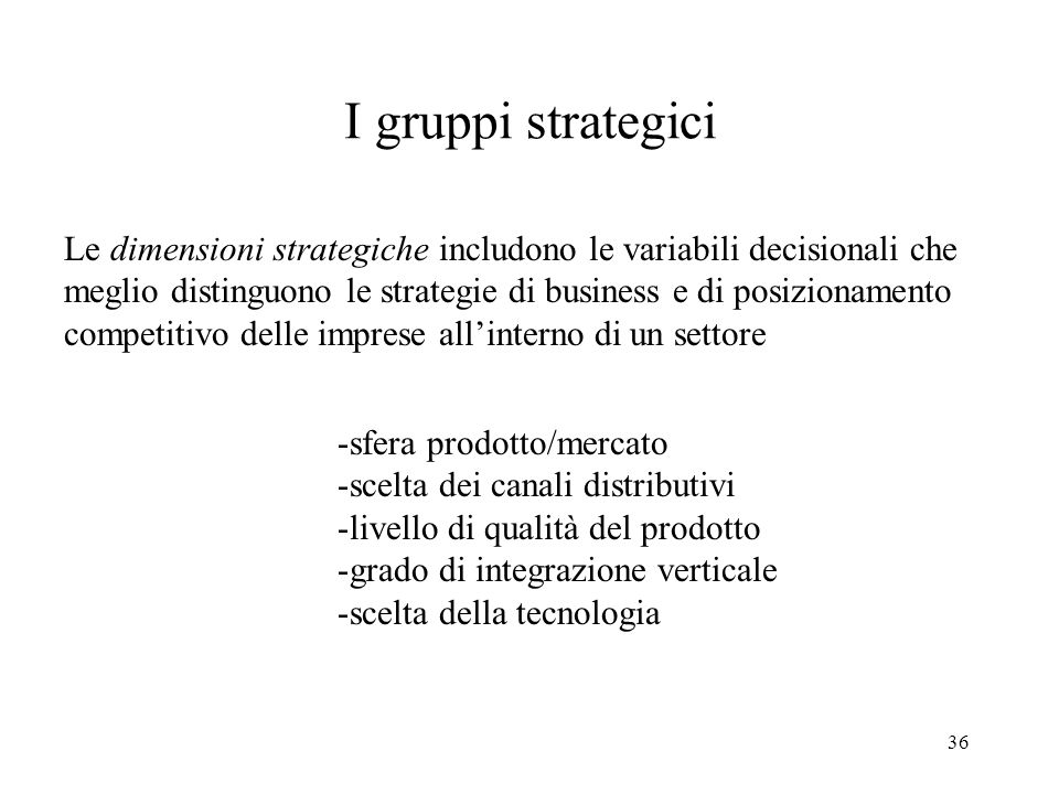 I gruppi strategici