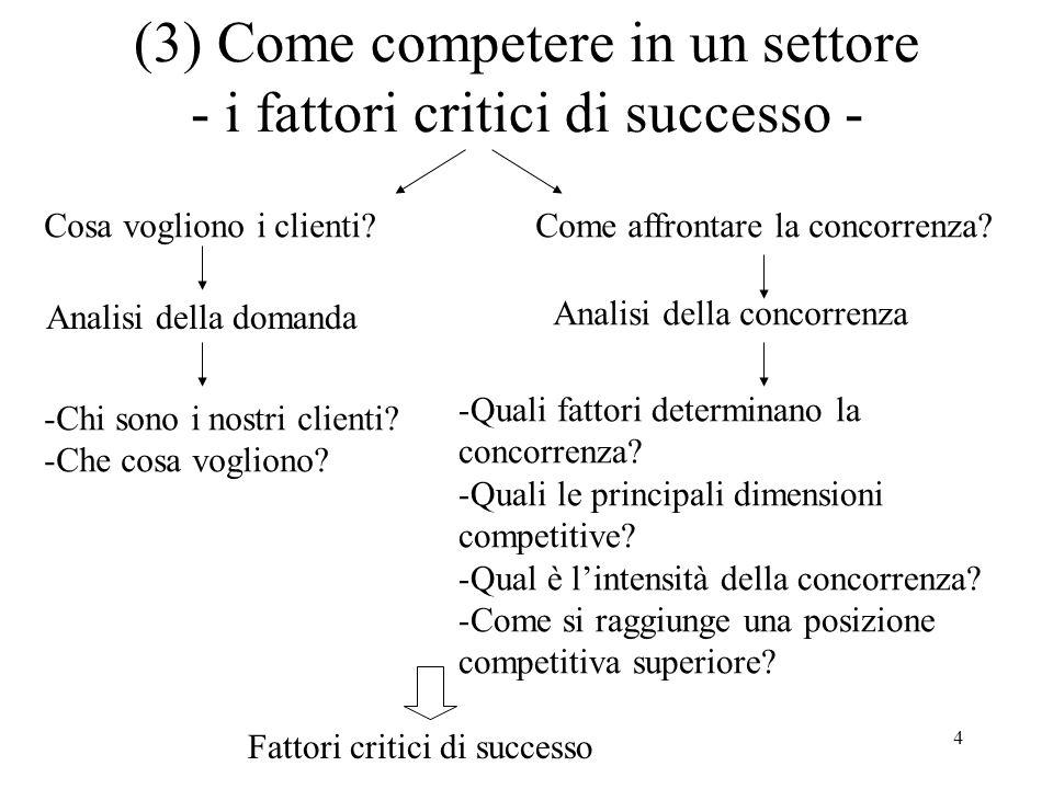 (3) Come competere in un settore - i fattori critici di successo -