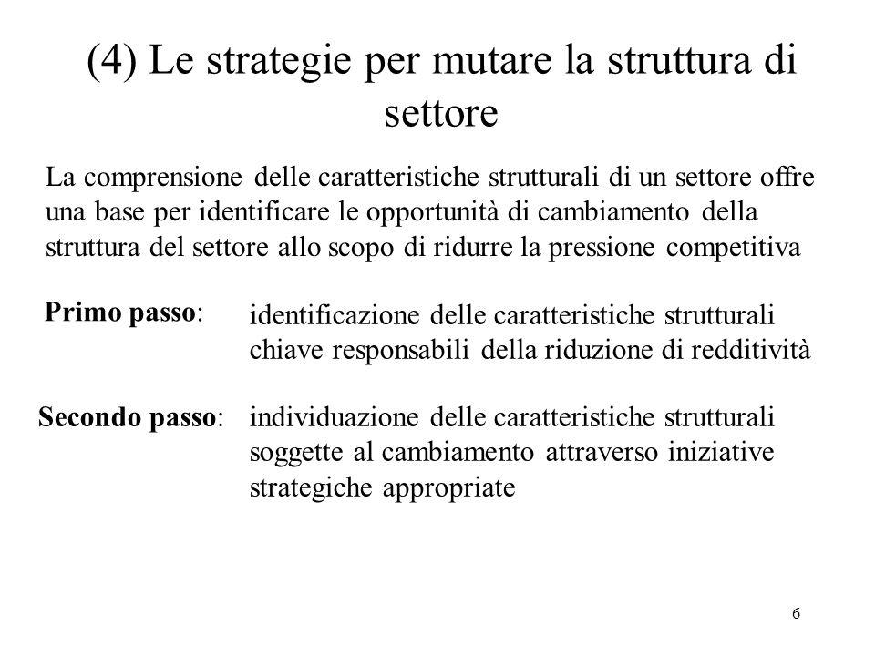 (4) Le strategie per mutare la struttura di settore